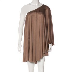 Mara Hoffman one sleeve brown silk dress NWT xs